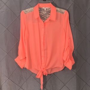 Candies neon orange chiffon /lace top SZ L